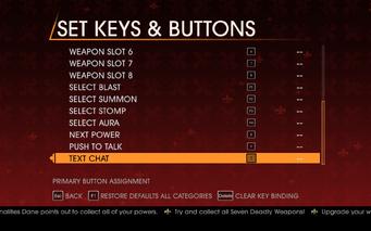 Saints Row Gat out of Hell - Main Menu - Options - Controls - Set Keys & Buttons - General II