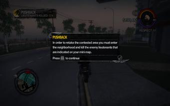 Pushback tutorial in Saints Row 2 - kill enemy lieutenants