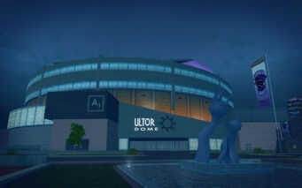 Ultor Dome in Saints Row 2 - Ultor Dome front and statue