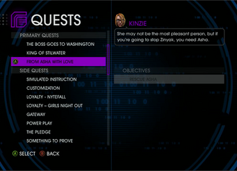 Quests Menu - From Asha With Love