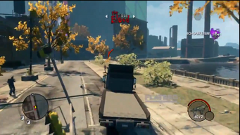 Flatbed with logo in a gameplay preview for Saints Row The Third
