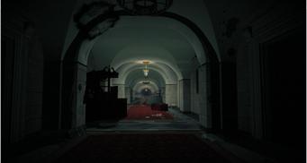 Destroyed White Crib - main downstairs hallway
