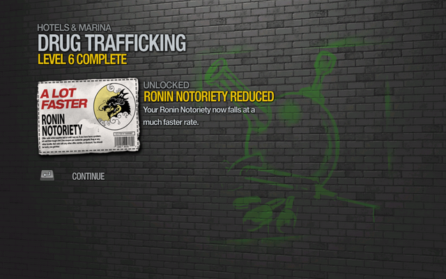File:Ronin Notoriety Reduced by 15% unlocked by Drug Trafficking level 6 in Saints Row 2.png
