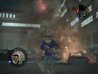 Flamethrower in-game in Saints Row 2