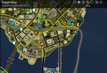 Map in Saints Row 2 - Downtown - Adept Way