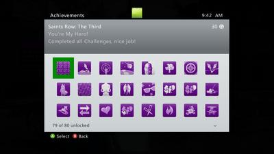 Achievements menu in Saints Row The Third