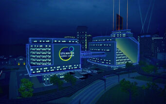 Humbolt Park in Saints Row 2 - Stilwater Science Center at night