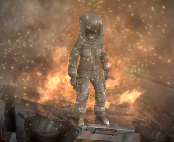 Fire Fighter Suit outfit - standing in fire as proof of fireproofing