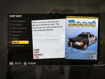 Five-O - Suburbs Chop Shop list in Saints Row 2