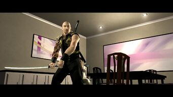 Jyunichi holding Samurai Sword in House Party cutscene