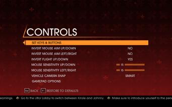 Saints Row Gat out of Hell - Main Menu - Options - Controls menu