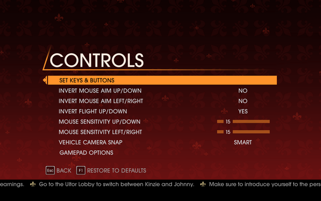 File:Saints Row Gat out of Hell - Main Menu - Options - Controls menu.png
