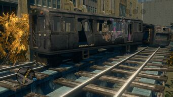Close up of third broken train carriage in Loren Square in Saints Row The Third