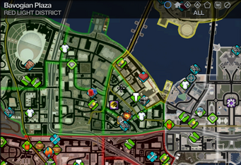 Map in Saints Row 2 - Red Light - Bavogian Plaza