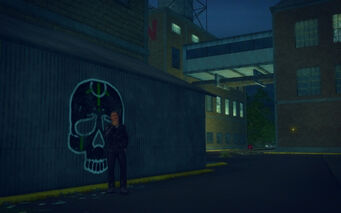 The Mills in Saints Row 2 - civilian smoking near Samedi graffiti