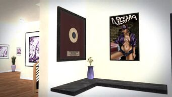 Aisha's House - outside of cutscene - framed record and poster