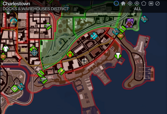 Map in Saints Row 2 - Docks & Warehouses - Charlestown