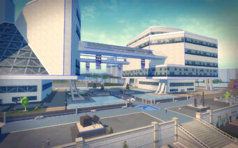 Humbolt Park in Saints Row 2 - Stilwater Science Center from rear