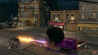 Gat Mobile firing flamethrower