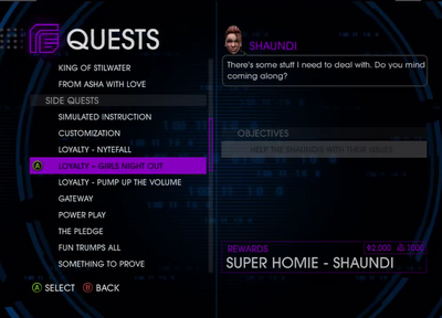 Quests Menu - Loyalty - Girls Night Out