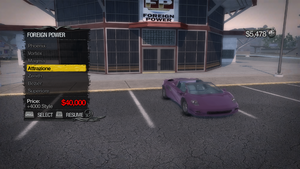 Saints Row 2 - Foreign Power menu - Attrazione