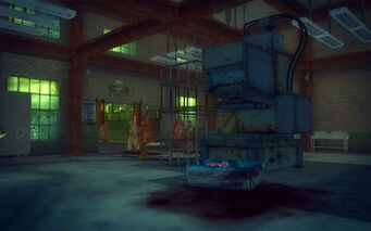 The Mills in Saints Row 2 - interior of slaughterhouse