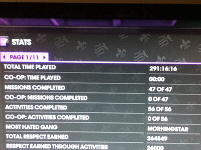 Total Time Played 291h 16m 16s in Saints Row The Third