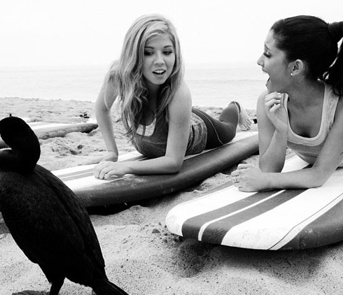 File:Ariana and Jennette filming Worldwide Day of Play promos.jpg