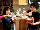Cameron and Gianna making breakfast June 2, 2013