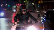 Sam and Cat on the Motorcyle heading to Inside Out Burger