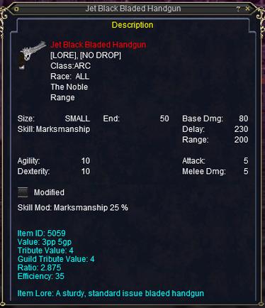 Jet black bladed handgun