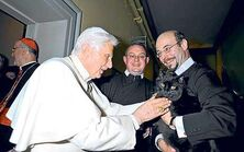 Pope blessing cat