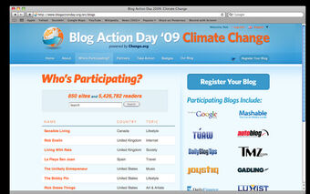 Blog Action Day 2009 signup