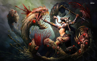 24536-woman-warrior-battling-the-three-headed-monster-1680x1050-fantasy-wallpaper