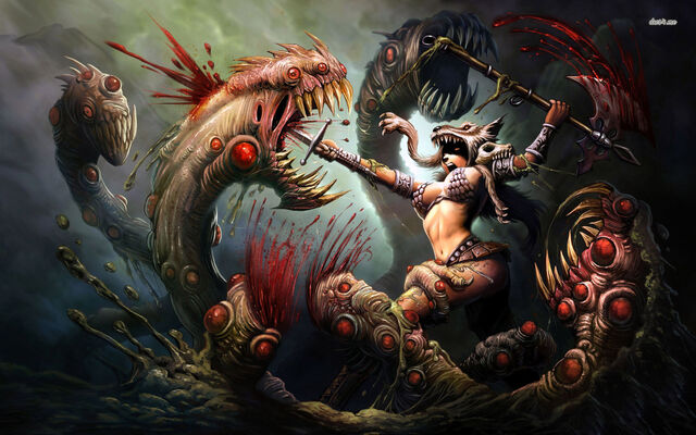 File:24536-woman-warrior-battling-the-three-headed-monster-1680x1050-fantasy-wallpaper.jpg