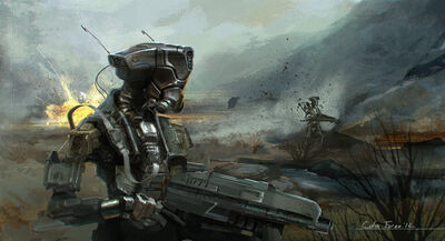 640x347 17359 Scotland 2d sci fi robot android soldier picture image digital art