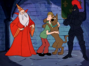 Shag and Scoob with the Ghost of Merlin and Black Knight