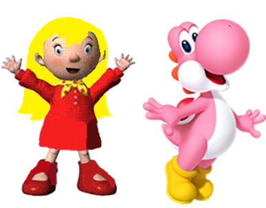 File:Mary and Pink yoshi.PNG