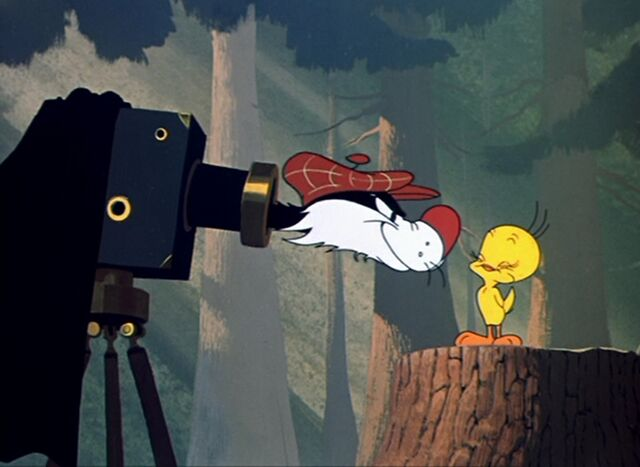 File:Evil Sylvester with a smiling Tweety.jpg