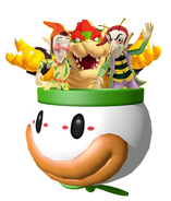 Bowser, Sly and Gobbo in clown car