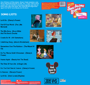 The Back of The Cover Of Disney's Sing Along Songs Let It Go