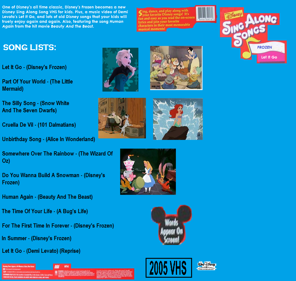 image the back of the cover of disneys sing along songs