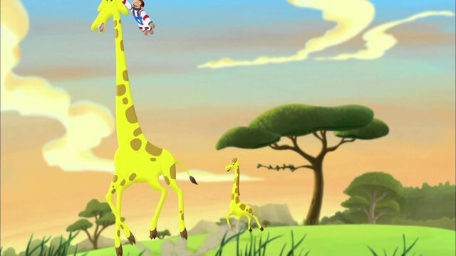 File:Curious George with giraffes.jpeg
