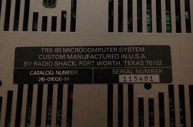 26-01006-M U.K. Version Model 1 -- serial number plate