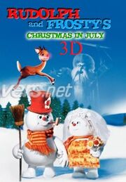 Rudolph and frosty christmas in july 3d poster