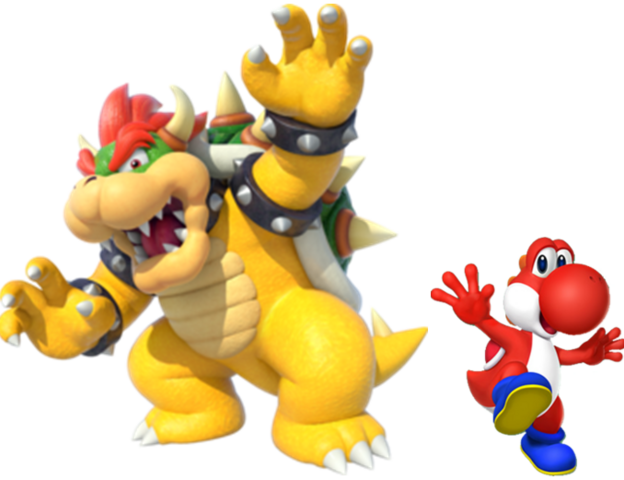 File:Bowser and Red yoshi.PNG