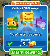 Quest Collect 500 soaps completed