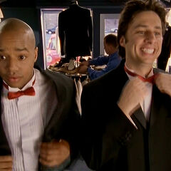 J.D. and Turk try on tuxedos