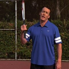 Dr. Cox is forced to play tennis with Harvey Corman
