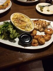 Jack Daniels chicken and shrimp meal